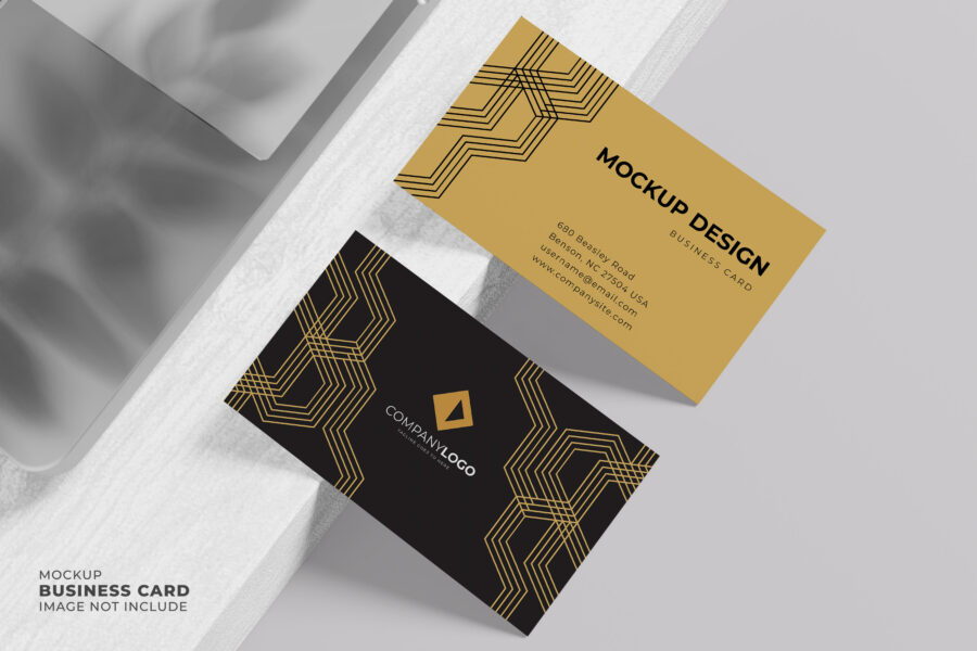 Top View Premium Business Card Mockup